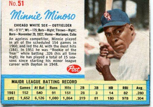 Photo of 1962 Post #51 Minnie Minoso