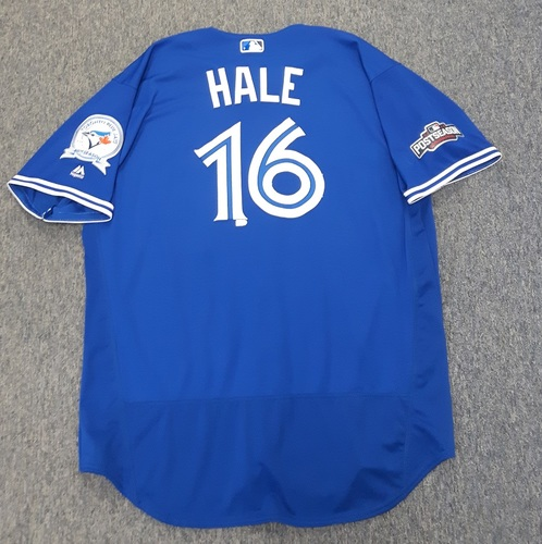 Photo of Authenticated Game Used 2016 Postseason Jersey - #16 DeMarlo Hale (October 18: ALCS Game 4). Size 54.