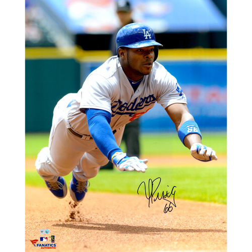 Photo of Yasiel Puig Los Angeles Dodgers Autographed 16'' x 20'' Diving Slide Onto Base Photograph
