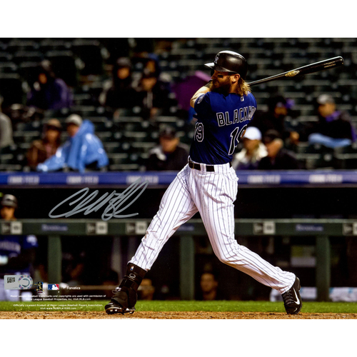 "Photo of Charlie Blackmon Colorado Rockies Autographed 8"" x 10"" Hitting in Purple Jersey Photograph"
