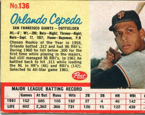 Photo of 1962 Post #136 Orlando Cepeda