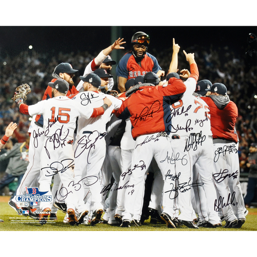 "Photo of Boston Red Sox 2013 World Series Champions Team Autographed 16"" x 20"" Photograph with 20 Signatures"