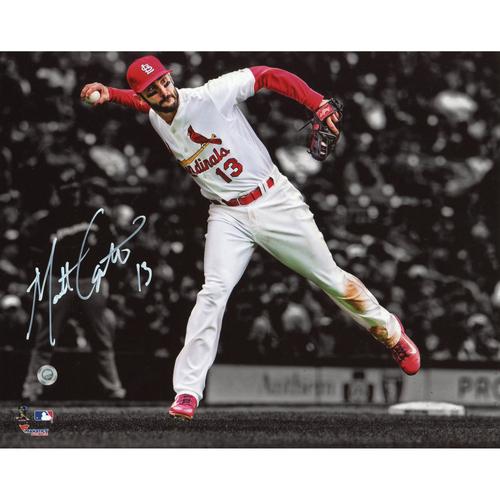 """Photo of Matt Carpenter St. Louis Cardinals Autographed 8"""" x 10"""" Fielding Spotlight Photograph"""