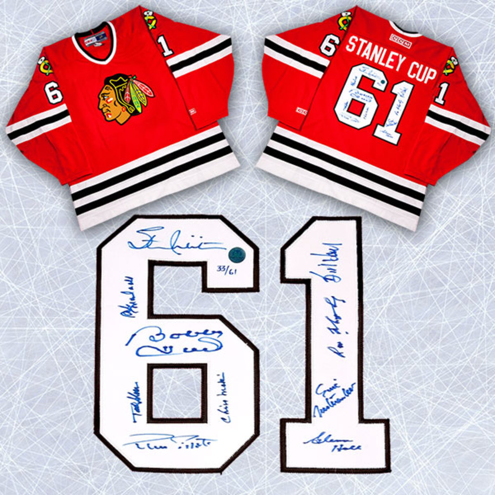 1961 Chicago Blackhawks Team Signed Stanley Cup Jersey Le #/61 - 10 Autographs *Bobby Hull, Glenn Hall, Stan Mikita, etc*