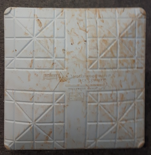 Photo of Authenticated Game Used Base - 1st Base for Innings 6 to 9: Jackie Robinson Day 2015 (TB at TOR, April 15, 2015)