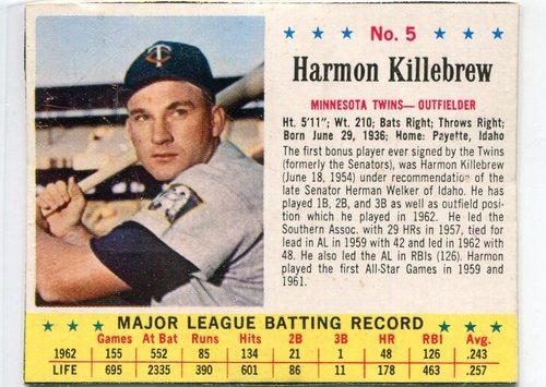 Photo of 1963 Jello #5 Harmon Killebrew