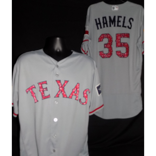 Photo of Cole Hamels 2017 Game-Used Stars and Stripes Jersey