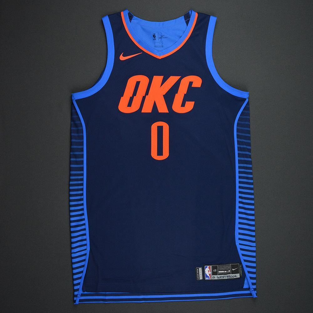 Russell Westbrook - Oklahoma City Thunder - Statement Game-Worn 1st Half Only Jersey - Triple-Double - 2017-18 Season