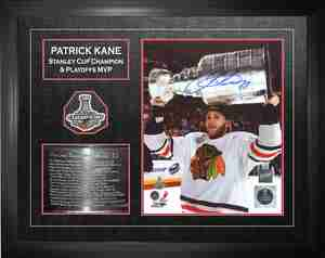 Patrick Kane - Signed 16x20 With Engraving Photo & Patch 2013 Stanley Cup