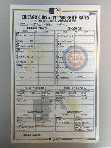 Photo of Game-Used Lineup Card from Pirates vs. Cubs on 9/29/2016 - Game Ends in 1-1 Tie