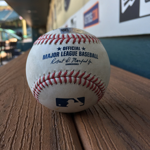 Photo of Game-Used Baseball: Francis Martes to Albert Pujols (Pitch In Dirt) on June 9, 2017