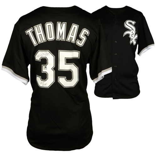 Photo of Frank Thomas Chicago White Sox Autographed Majestic Black Replica Jersey with HOF 14 Inscription