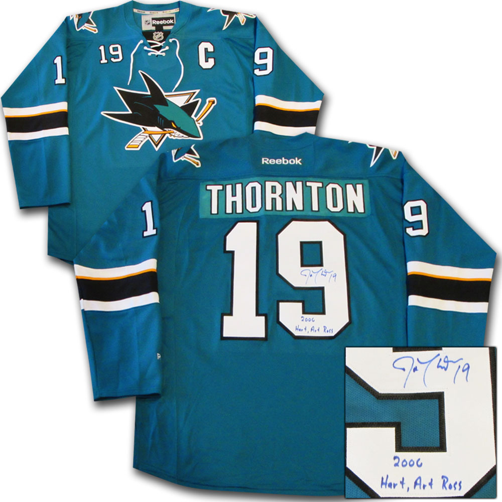 Joe Thornton Autographed San Jose Sharks Jersey w/2006 HART, ART ROSS Inscription