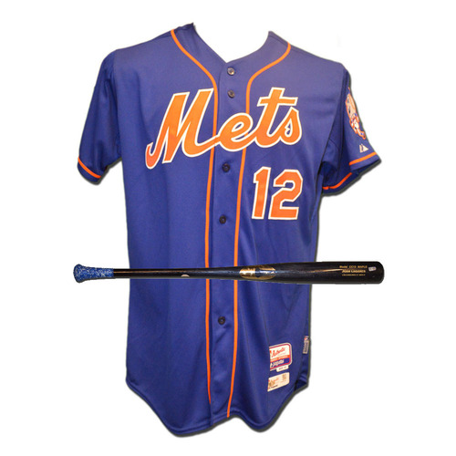 Photo of Juan Lagares #12 - Team Issued Blue Alt. Home Jersey - Team Issued Black Full Chandler Bat - 2015 Season