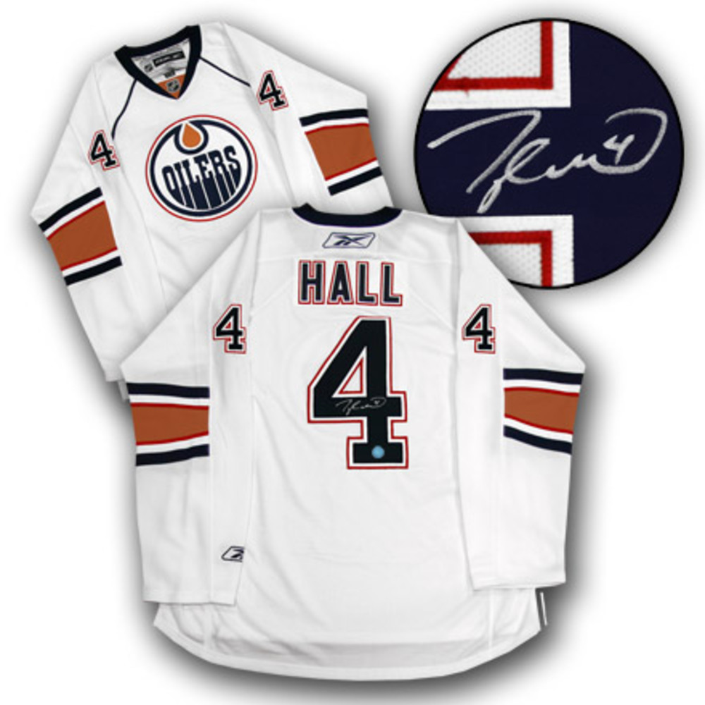 TAYLOR HALL Edmonton Oilers SIGNED RBK Premier White Rookie Jersey