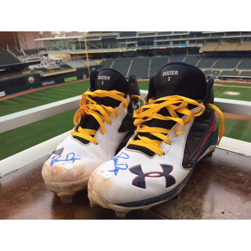 Photo of Support Pediatric Cancer: Children's Cancer Awareness Game-Used Cleats Worn and Autographed by Brian Dozier