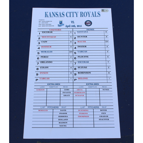 Photo of Coach's Line Up Card: (4/16/2015 - KC at MIN)