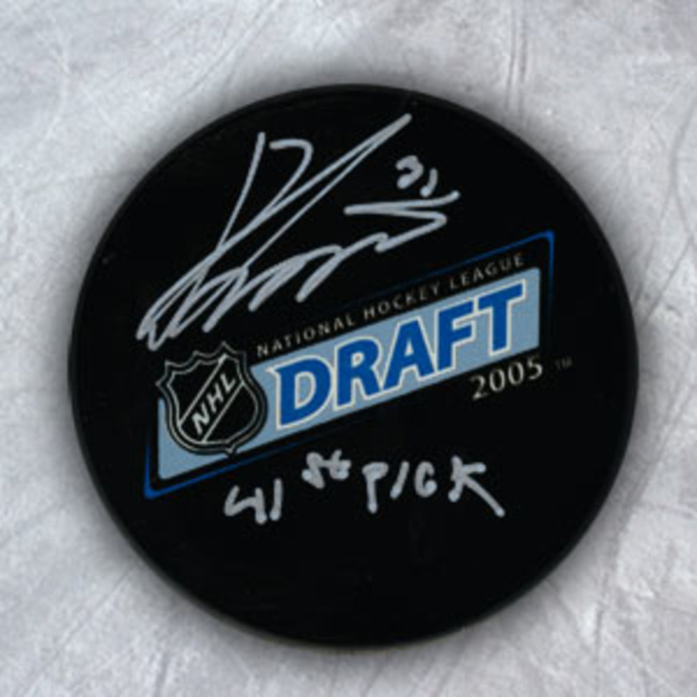 Ondrej Pavelec Autographed 2005 NHL Draft Day Puck w 41st Pick Inscription