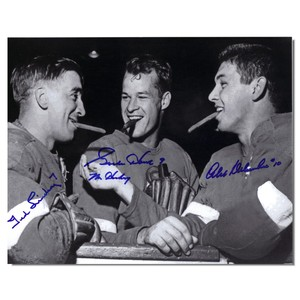 Gordie Howe, Ted Lindsay, Alex Delvecchio Autographed 8x10 Photo