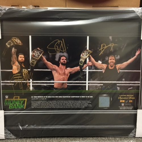 Photo of Roman Reigns, Dean Ambrose, & Seth Rollins SIGNED Money In The Bank 2016 13 x 21 Framed Ring Canvas Photo Collage
