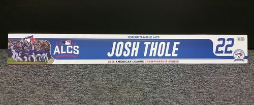 Photo of Authenticated Game Used 2016 ALCS Locker Tag - #22 Josh Thole