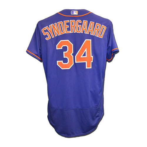 Photo of Noah Syndergaard #34 - Team Issued Blue Alternate Home Jersey - 2016 Season