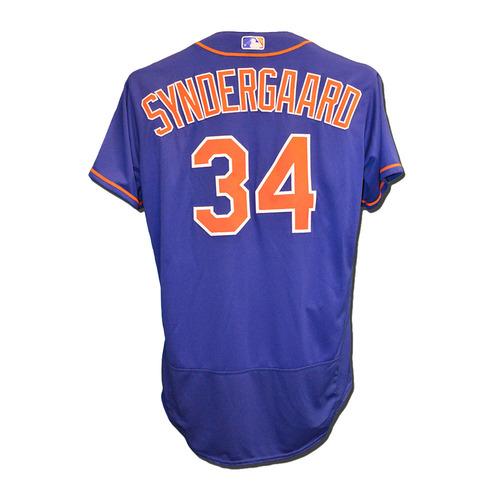 Photo of Noah Syndergaard #34 - Team Issued Blue Alternate Home Jersey - 2016 Season