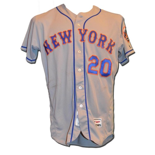 Photo of Neil Walker #20 - Game Used Road Grey Jersey - 2-5, 2 HR - Mets vs. Phillies - 4/19/16
