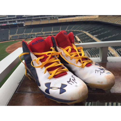 Photo of Support Pediatric Cancer: Children's Cancer Awareness Game-Used Cleats Worn and Autographed by Byron Buxton
