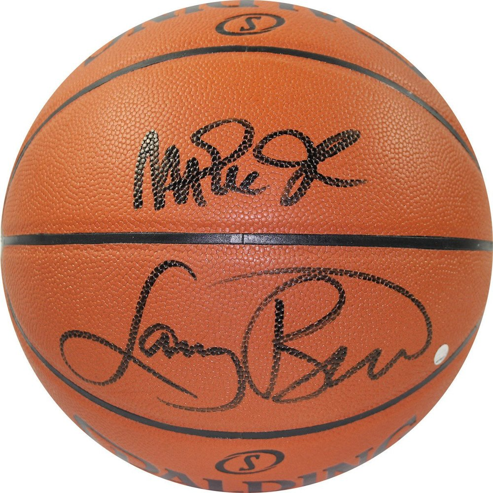 Magic Johnson & Larry Bird Dual Signed NBA I/O Basketball