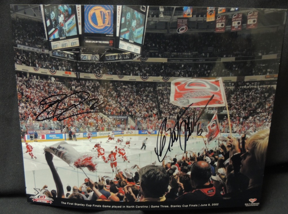 Bret Hedican #6 and Erik Cole #26 Autographed 8x10 Photo (10th Anniversary Celebration Series)