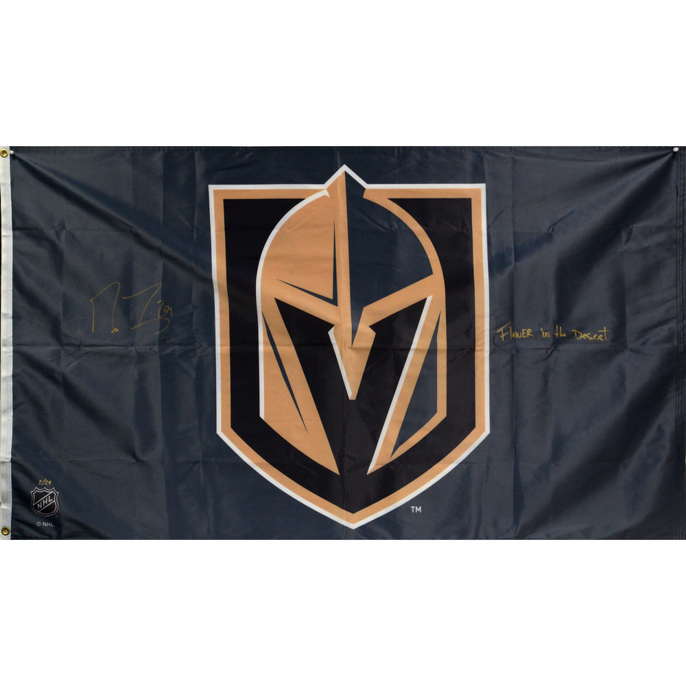 Marc-Andre Fleury Vegas Golden Knights Autographed 3' x 5' Flag with Flower In The Desert Inscription - Limited Edition of 29