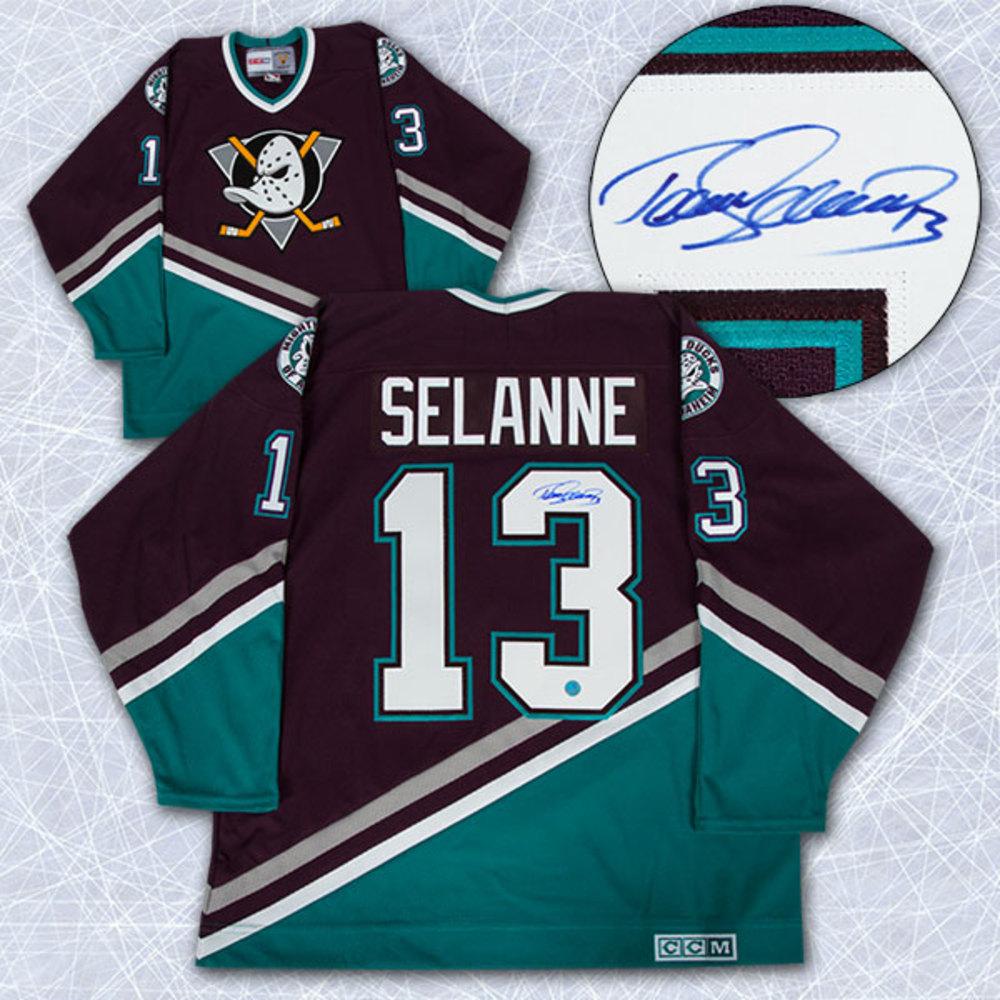 Teemu Selanne Anaheim Mighty Ducks Autographed Retro CCM Hockey Jersey