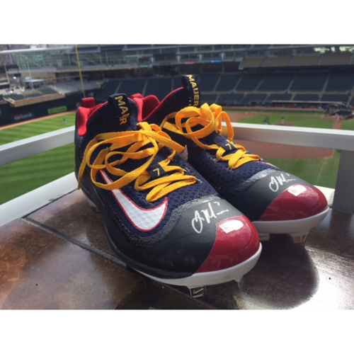 Photo of Support Pediatric Cancer: Children's Cancer Awareness Game-Used Cleats Worn and Autographed by Joe Mauer