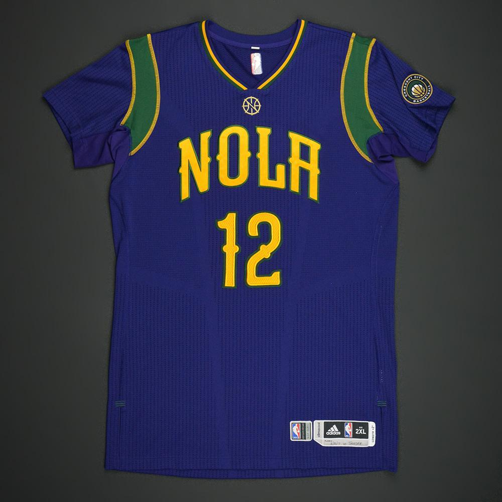 Donatas Motiejunas - New Orleans Pelicans - Purple 'Mardi Gras' Game-Worn Jersey - 2016-17 Season