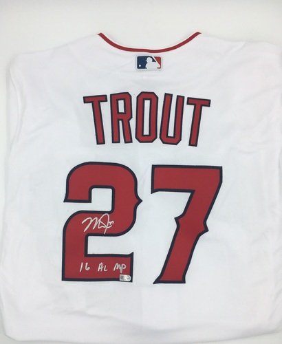 "Photo of Mike Trout Autographed ""16 AL MVP"" White Authentic Angels Jersey"