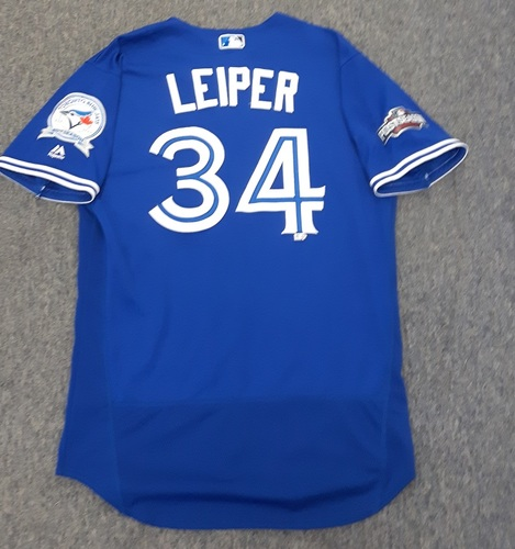 Photo of Authenticated Game Used 2016 Postseason Jersey - #34 Tim Leiper (October 18 and 19 : ALCS Games 4 and 5). Size 46.