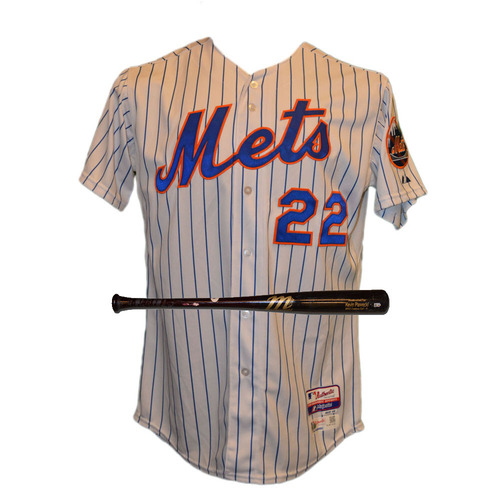 Photo of Kevin Plawecki #22 - Team Issued White Pinstripe Home Jersey - Team Issued Black Full Marucci Bat- 2015 Season