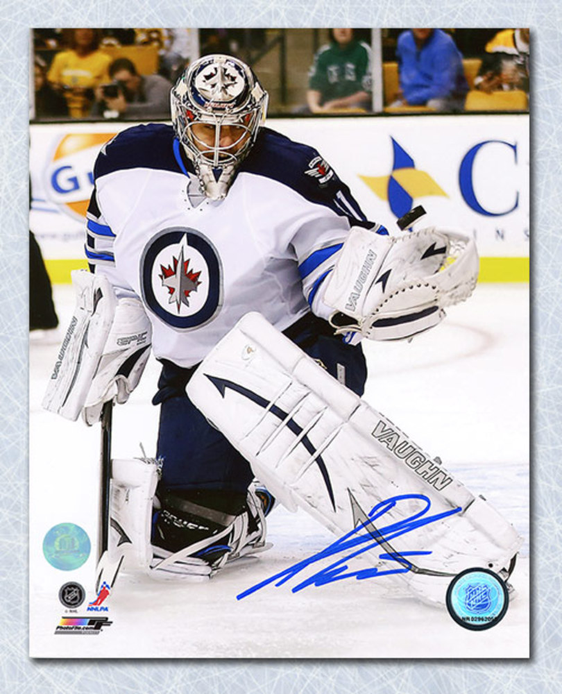 Ondrej Pavelec Winnipeg Jets Autographed Glove Save 8x10 Photo