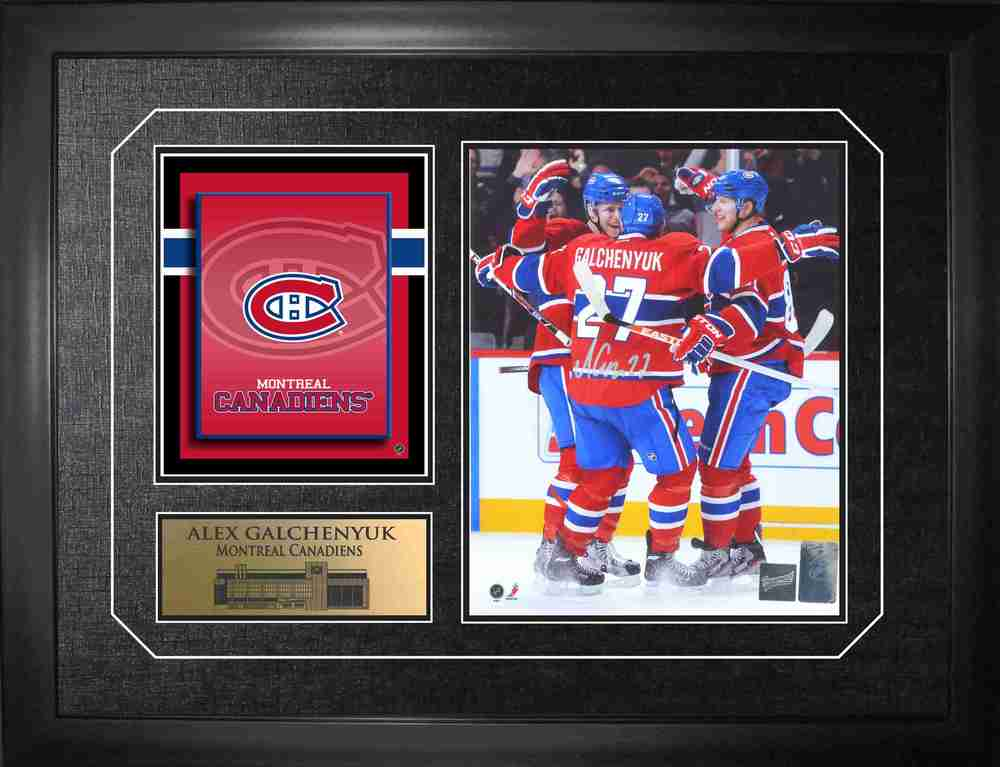 Alex Galchenyuk - Signed & Framed 8x10 - With Logo Print Canadiens Team Celebration