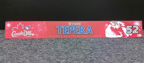 Photo of Authenticated Team Issued 2016 Canada Day Locker Tag - #52 Ryan Tepera