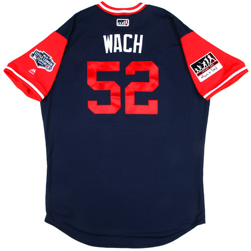 "Photo of St. Louis Cardinals Game-Used Little League Classic Jersey -  Michael ""Wach"" Wacha #52"