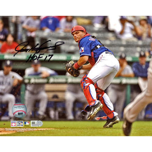 "Photo of Ivan Rodriguez Texas Rangers Autographed 8"" x 10"" Catching Photograph with HOF 2017 Inscription"