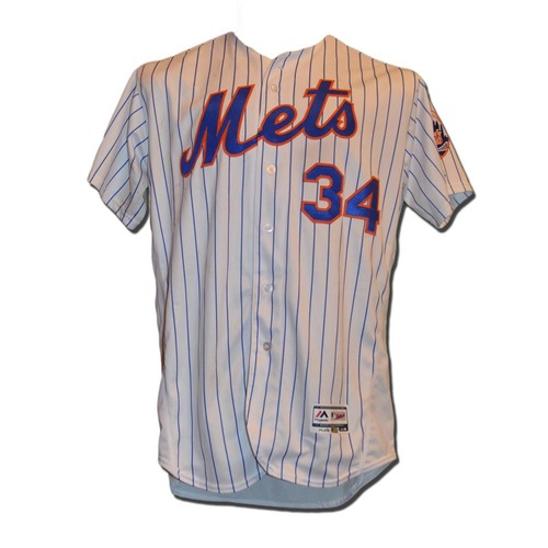Photo of Noah Syndergaard #34 - Game Used White Pinstripe Jersey - Earns 7th Win - 8.1 IP 11 K's - Longest Career Outing - Mets vs. Pirates - 6/15/16