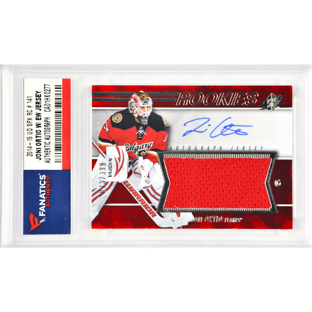 Joni Otrio Calgary Flames Autographed 2014-15 Upper Deck SPX Rookie #141 Card Containing a Piece of Event Worn Jersey Limited Edition of 399