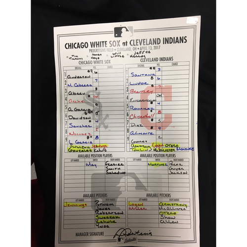 Photo of Large Lineup Card from April 13, 2017: Chicago White Sox v. Cleveland Indians