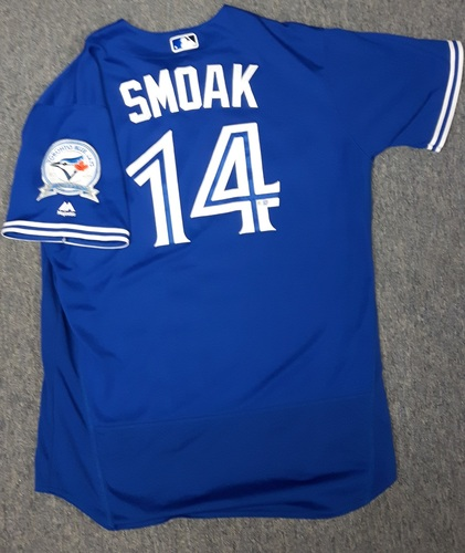 Authenticated Game Used Jersey - #14 Justin Smoak (July 30, 2016) - Blue Jays moved to 1st in the AL East with Win