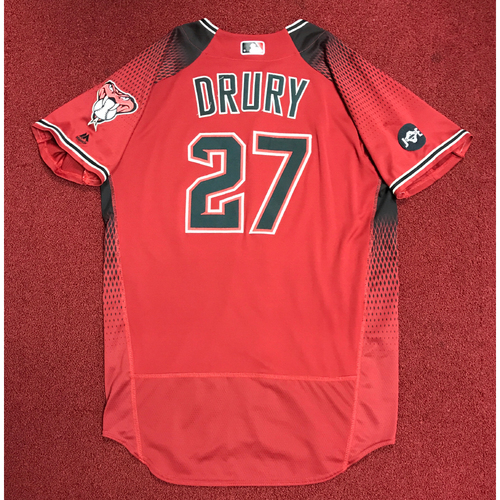 Photo of Brandon Drury Game-Used Red Alternate Jersey