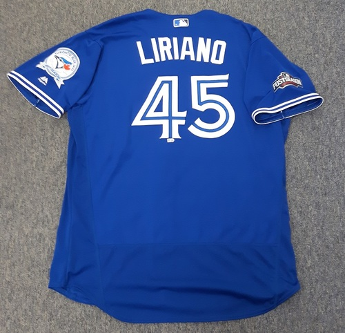 Photo of Authenticated Game Used 2016 Postseason Jersey - #45 Francisco Liriano (October 4 and 9: Wild Card Game and ALDS Game 3). Liriano was the Winning Pitcher for the Wild Card Game (1.2 IP with 0 ER and 1 K). Size 52.
