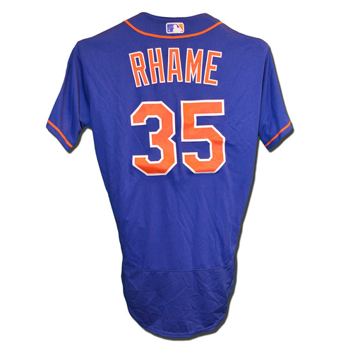 Photo of Jacob Rhame #35 - Game Used Blue Alternate Home Jersey - Mets vs. Braves - 9/26/17
